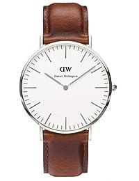 Daniel Wellington 丹尼尔•惠灵顿 瑞典品牌 Classic系列 银色表圈表扣 石英手表 男士腕表 DW00100021(原型号0207DW)