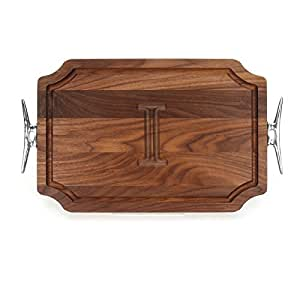 """CHUBBCO W310-SCLT-I Cutting Board with Boat Cleat Cast Aluminum Handle with Scalloped Corners, 12-Inch by 18-Inch by 1-Inch, Monogrammed """"I"""", Walnut"""