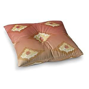 "KESS InHouse Alison Coxon""珊瑚色渐变 Ikat""橙色黄色方形地板枕 多种颜色 23"" x 23"" AC1097ASF01"