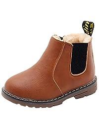 DADAWEN 男孩女孩防水侧拉链短踝冬季雪地靴