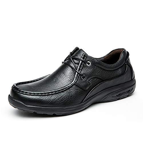 Cele策乐舒适男士皮鞋软面头层牛皮简约时尚休闲皮鞋男套脚爸爸鞋