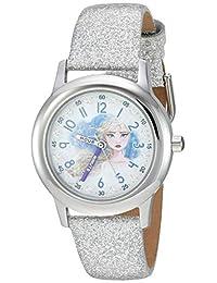 Disney 迪士尼女童冰雪奇缘 2 不锈钢模拟石英手表*皮革表带,白色,15(型号:WDS000799)