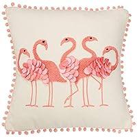 DEI 棉质方形火烈鸟装饰枕头