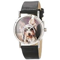 异想天开的手表儿童 R0130077 经典 Yorkie 黑色皮革和银色照片手表
