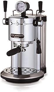 Ariete 1387 Novecento 咖啡机适用于粉末和平板 ESE 咖啡机,泵 15 巴,功率 1100 瓦,牛奶发泡,隔层暖器,过滤杆专业黄铜,银色/黑色