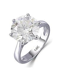 DovEggs 14K 白金 6 克拉 3.5 毫米戒指宽度 12 毫米 H-I 颜色圆形明亮莫桑石订婚戒指女式