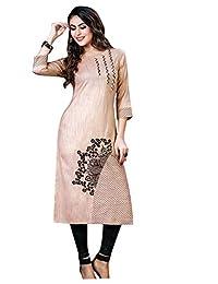Ladyline Plain 人造丝刺绣 Kurti 束腰上衣 女式 Kurta 印度晚会仪式连衣裙