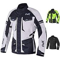 探險/旅行摩托車夾克男式紡織摩托車 CE 裝甲防水夾克 ADV 4 季(淺灰色,L 碼)