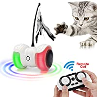 远程互动机器猫玩具,自动和手动控制不规则USB可充电电子小猫玩具,360度自动旋转小猫车,内置多彩LED灯,大容量电池