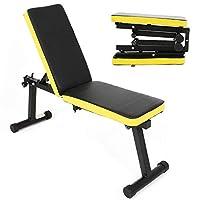 DlandHome 折叠坐式倾斜运动哑铃凳高度可调节,多功能家庭健身房力量训练健身锻炼站,PSBB003