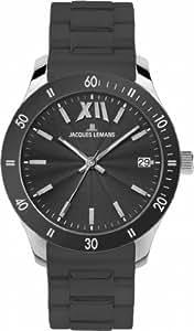 Jacques Lemans 男式罗马运动石英不锈钢硅胶休闲手表,颜色:灰色(型号:1-1622T)