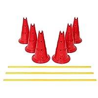 Etna 狗敏捷跨栏套装 – 6 只狗服从训练训练锥体带 3 个可折叠金属杆 – 高度可调节