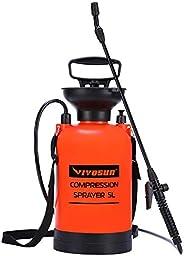 VIVOSUN 1.3加仑草坪和花园泵压力喷雾器,含压力释放阀,可调节肩带和手套