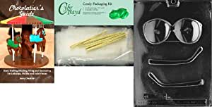 """Cybrtrayd""""Glasses"""" Jobs Chocolate Candy Mold with Chocolatier's Bundle, Includes 25 Cello Bags, 25 Gold Twist Ties and Chocolatier's Guide"""