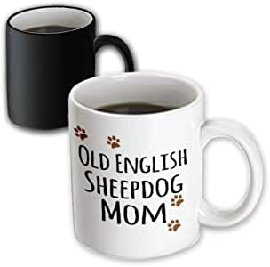 3drose inspirationz Store PET 设计–英国古代牧羊犬 Mom–羊狗–doggie BY breed–棕色爪印 Doggy 爱好者宠物主人 MAMA–马克杯 黑色/白色 11-oz Magic Transforming Mug
