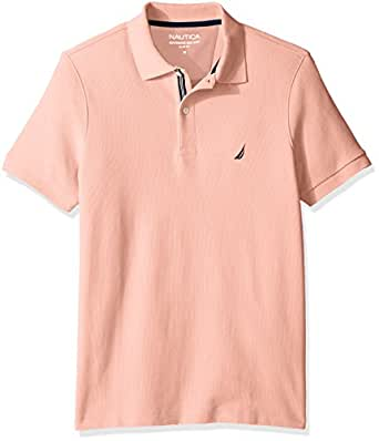 Nautica Men's Slim Fit Short Sleeve Solid Polo Shirt  Coral Sands X-Small