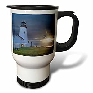 3dRose tm_90633_1 Sun, Pemaquid Point Lighthouse, New Harbor, Maine US20 CHA0068 Chuck Haney Travel Mug, 14-Ounce, Stainless Steel