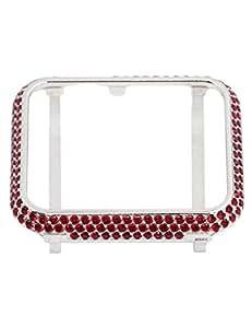 Callancity 精致手写 18K 铂金色水晶外壳,兼容苹果手表系列 1 2 3 38 mm 红色
