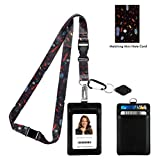 Joan Miro Song of The Vowels Print Lanyard with PU Leather ID Badge Holder Wallet with 2 Card Pockets, Safety Breakaway Clip and Matching Note Card. Gift of Carabiner Keychain Flashlight.