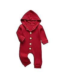 NewZhu 幼童男婴女童连衫裤婴儿连体衣纯色套装长袖连帽连衣裤