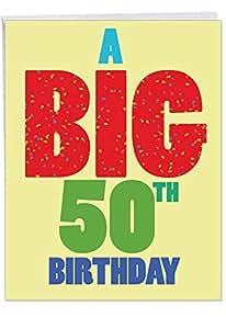 J3940BDG Jumbo Birthday Card: Big 50 Birthday With Envelope (Extra Large Version: 8.5'' x 11'')