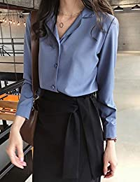 Goralon 2018秋季新款女装chic西装领雪纺衬衫女长袖OL衬衣纯色打底衫上衣