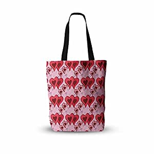 "KESS InHouse ""Mydeas Scribbled Hearts 图案粉色红矢量一切""手提袋,45.72 cm x 45.72 cm,多色"
