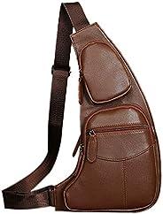 Peicees 皮革單肩包 w/USB 充電胸部斜挎背包 男式 Style4-brown 均碼