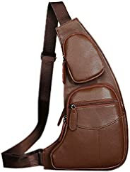 Peicees 皮革单肩包 w/USB 充电胸部斜挎背包 男式 Style4-brown 均码
