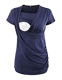 Jinson 女士褶边侧边抽褶哺乳短袖长袖哺乳 T 恤