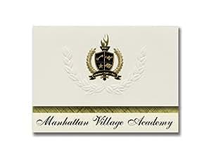 标志性公告曼哈顿村学院(纽约,纽约)毕业公告,总统风格,25 片精英包装 金色和黑色金属箔封装