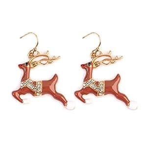 Riah 时尚圣诞设计耳坠系列 - 假日、雪人、铃铛、驯鹿、天使挂钩吊坠耳环 Rudolph Reindeer