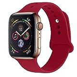 RUOQINI 兼容苹果手表表带 38mm 42mm 40mm 44mm,运动硅胶软替换表带兼容 Apple Watch 系列 4/3/2/1