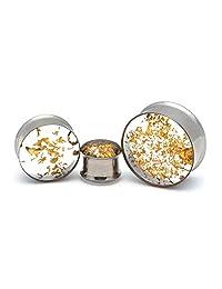 Mystic Metals Body Jewelry 嵌入式真金叶双喇叭形插头 - 成对出售