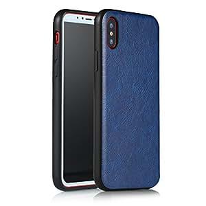 Ceslysun iPhone X 手机壳,防震保护 PU 皮革带硬 PC 背壳+柔软 TPU 保护套适用于 Apple iPhone X 5.8 英寸。 深蓝色