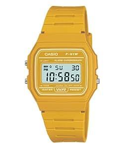 CASIO 男式数码手表树脂带–f-91wc