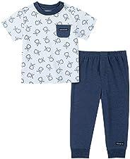 Calvin Klein 男婴 2 件裤子套装 Blue Print/Navy 6-9 Months