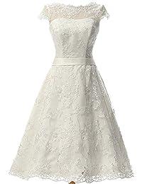 jaeden 女式复古蕾丝婚纱短款新娘礼服礼服带腰带