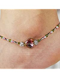 Aukmla 复古脚链手链银宝石脚链串珠脚踝手链沙滩脚链女士和女孩脚链-006