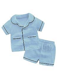 CHAOSHUO 女孩纱布睡衣套装睡衣幼儿男孩睡衣儿童短裤套装 棉质 2 件