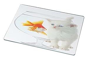 Rikki Knight RK-LGCB-1003 White Kitten and Goldfish Glass Cutting Board, Large, White