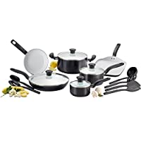 T-fal C921SG Initiatives Ceramic Nonstick Cookware Set, 16-Piece, Black