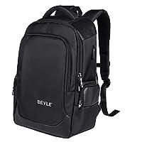 笔记本电脑背包 - 商务电脑包 男式和女式旅行背包 抗盗防水学院书包带 USB 充电端口适合 15.6 英寸笔记本电脑笔记本电脑,黑色