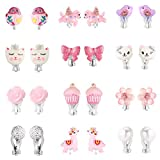PinkSheep 儿童耳环,婴儿耳环,12 双,女孩夹式耳环 12 Pairs Bling Earrings