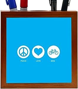 Rikki KnightTM Peace Love Bike Design Design 5 Inch Tile Wooden Tile Pen Holder