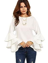 shein 女式圆领褶皱长袖衬衫