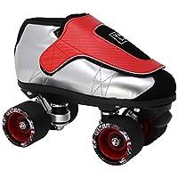 VNLA Junior SLVR 果冻滑冰 男式和女式滑冰 - 四轮轮滑冰 - 可调节滑冰/轮滑 - 户外和室内成人滑冰 - 中性舞蹈滑冰(银色和红色)
