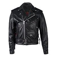 Hot Leathers 黑色經典摩托車夾克,帶拉鏈襯里 44 黑色 JKM1002BLK44