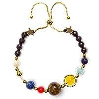 Believe London 太阳能系统手链带珠宝袋和含义卡 - 可调节手镯适合任何手腕 - 9 种星球星星宇宙守护者  金色
