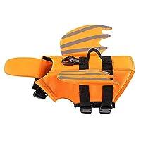 Xnbor 狗狗救生衣 夜光天使翅膀宠物漂浮救生衣 适用于小型、中型、大型犬 狗救生衣 保护游泳衣 适合游泳池、沙滩、划船 橙色 中